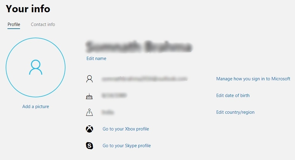 Microsoft account 'Your Info' page