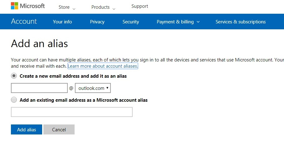 add a new email address to your Microsoft account