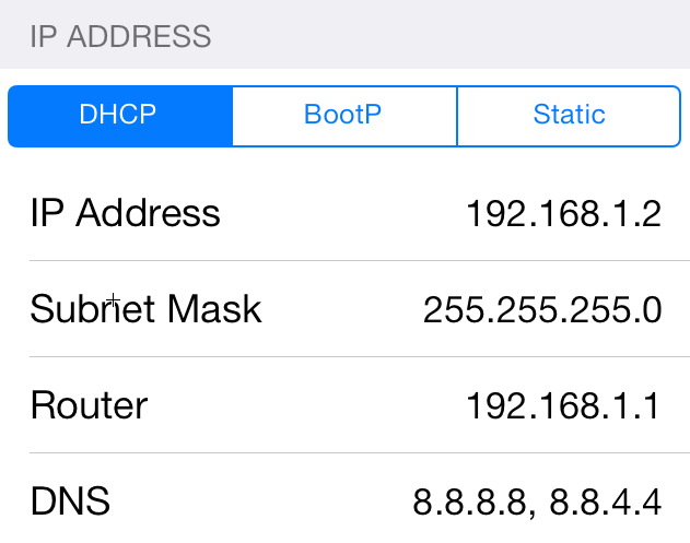 IP address of iPhone