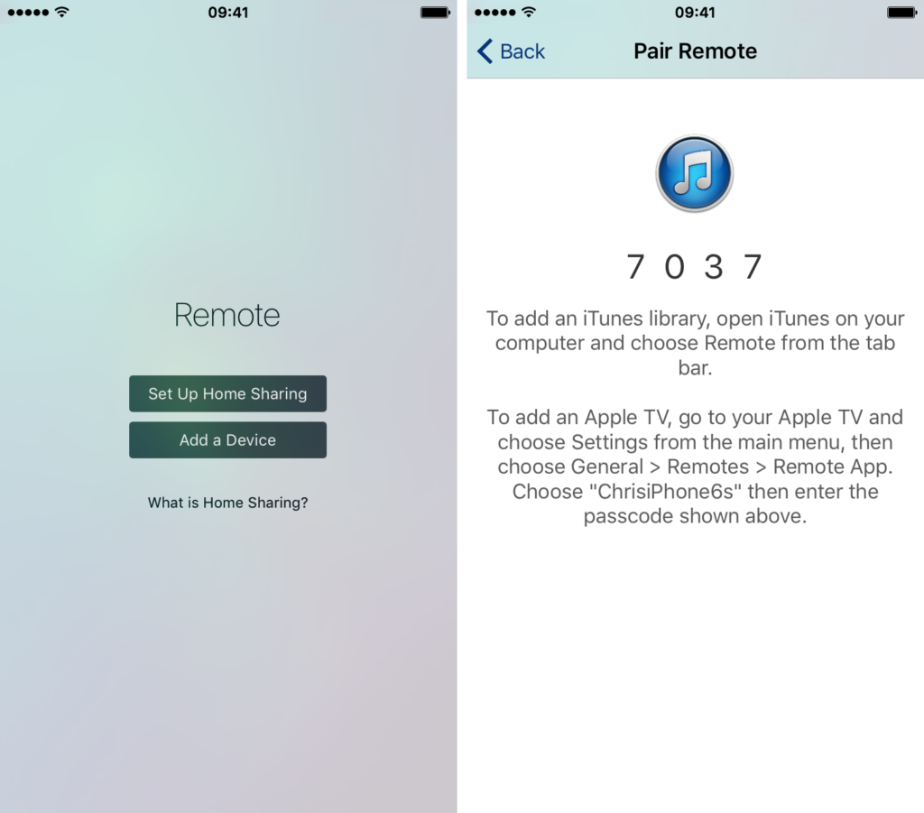 Configure iTunes Remote app manually